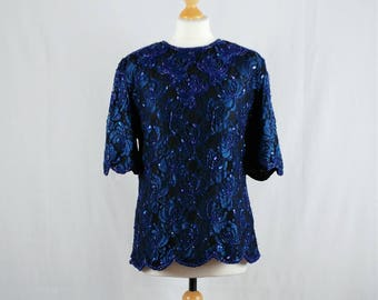 Vintage 1980s Laurence Kazan Blue Metallic Sequin Top