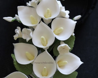 Calla Lily Gum Paste Flower Bouquet - Wedding Cake Decoration