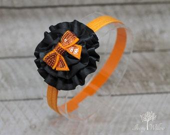 Orange and Black Headband - Halloween Headband - Baby Headband - Adult Headband - Orange Bow Headband - Black and Orange Bow