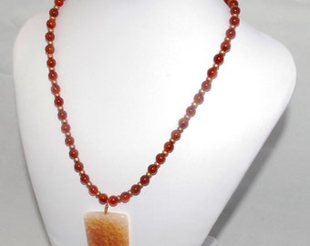 "Carnelian and copper necklace with fire agate pendant ""On fire"""