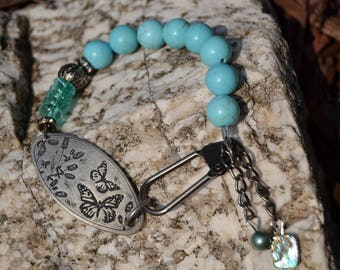 TURQUOISE MAGNESITE Butterfly Clip Bracelet with Czech Glass and Charms