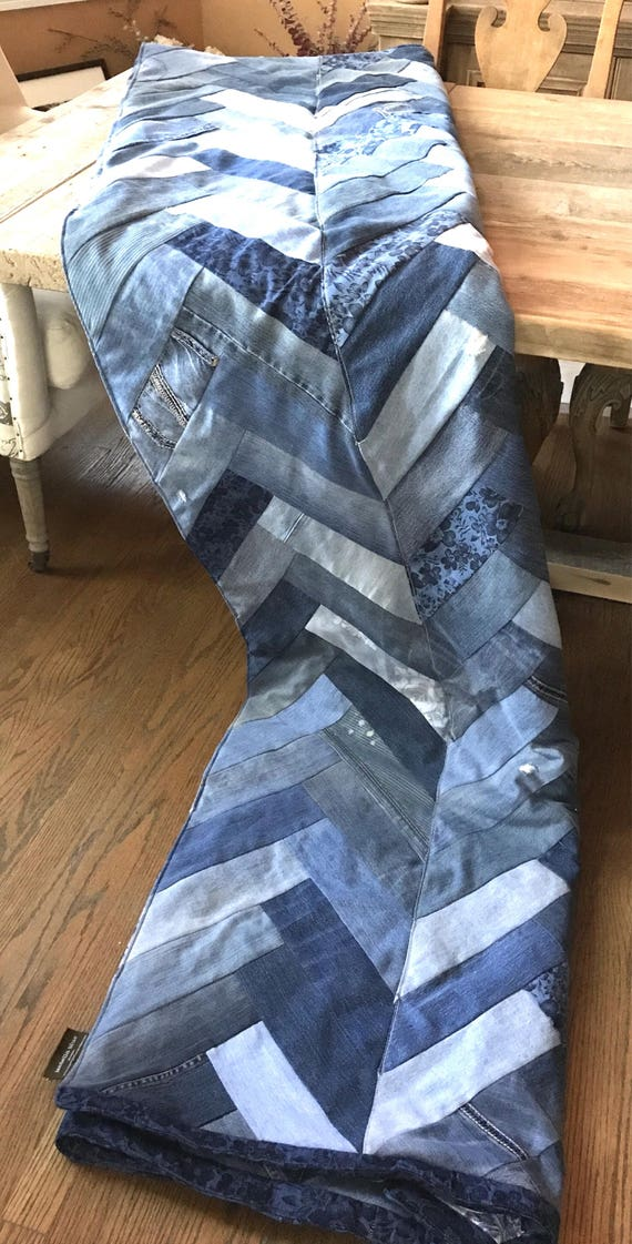 Recycled Denim Blanket, recycled Denim, Chevron, Herringbone, comforter, quilt, Denim Quilt, Denim Patched Quilt, Distressed Denim Blanket