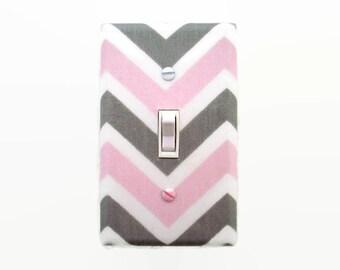 Chevron Light Switch Cover - Pink Grey Nursery Decor - Girls Nursery