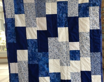 Blue and White Floral Lap Quilt  or Toddler Girl Quilt