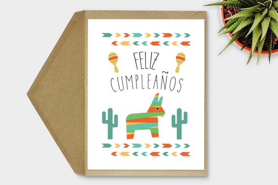 Feliz Cumpleaos Card Spanish Birthday Fiesta