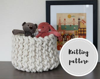Knit rope basket PDF pattern - knitting and assembly instructions for small, medium and large sizes