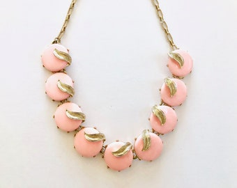 Vintage Necklace   Pink and Gold Statement Necklace   Costume Jewelry