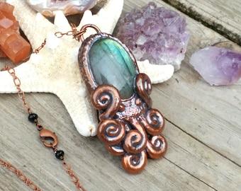 Copper Electroformed Octopus Pendant Necklace with Labradorite