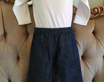 Denim easy pull on pants with elastic waist