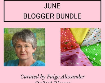 Blogger Bundle June, Paige Alexander, 6 Piece Bundle, Yellow, Green, Orange, Rainbow and Pink, Quilting Cottons, Modern Fabric Collection
