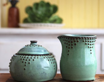 Rustic Sugar and Creamer Set in Aqua Mist - Handmade Pottery - French Country Dinnerware - MADE TO ORDER