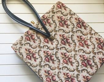 Vintage Floral Tapestry Handbag Purse Bag