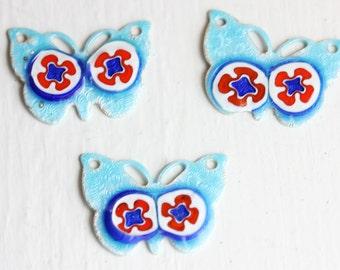 Enamel Butterfly Charms (3x)