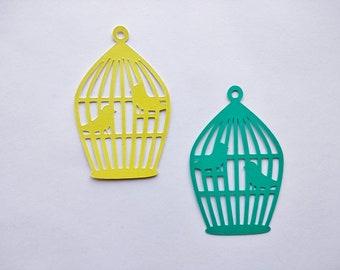 Bird Cage Cutout, Paper Birds, Bird Cage Die Cut, Bird Cage Decoration, Paper Embellishment, Card Decoration, Scrapbook Decor - Set of 6