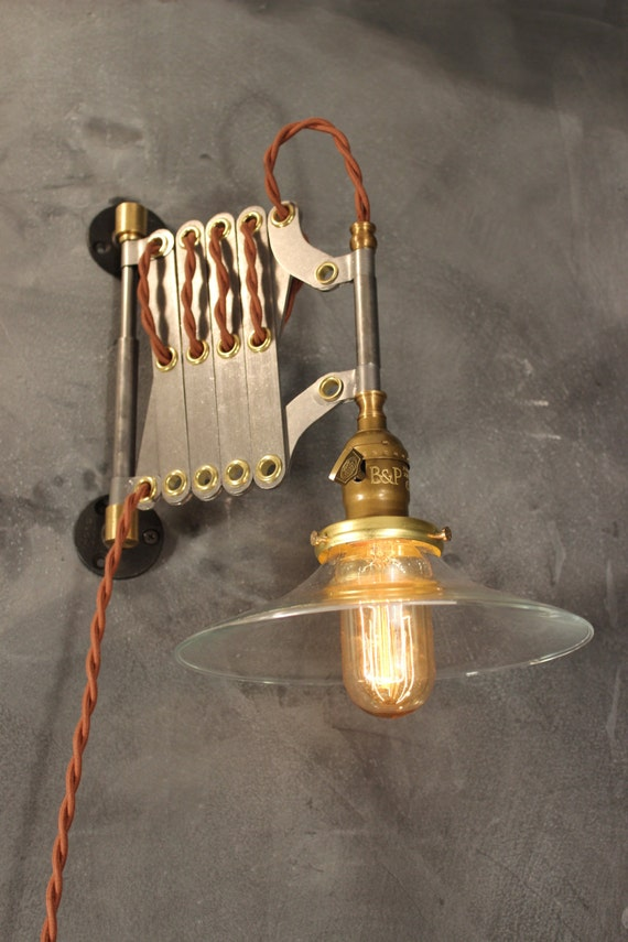 Vintage industrial scissor sconce expandable accordion lamp