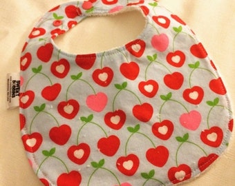 Spring Sale Cherry Love - Infant or Toddler Bib - Terry Cloth Backing - Reversible with ADJUSTABLE Snaps