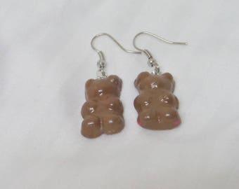 """Greedy bear """"hazelnut"""" earrings"""