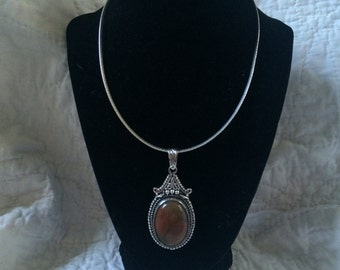 Vintage 925 Sterling Silver Omega Italy Necklace With 925 Sterling Silver Stone Pendant