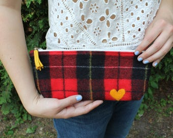 Upcycled Felted Wool Zippered Bag / Plaid Pencil Case