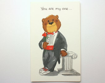"""Vintage 1992 Suzy's Zoo """"You are my one...and only!"""" Greeting Card - Bear in a Tux holding a rose - by Suzy Spafford - Printed in U.S.A."""