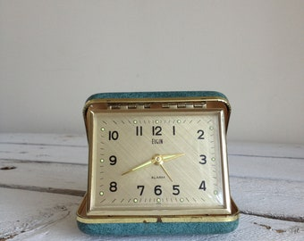 vintage clock old blue folding alarm clock Travel alarm clock by MellaFina