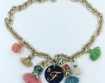 Charms necklace with Initial