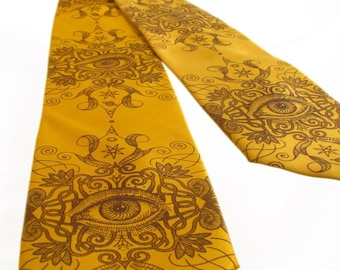 Psychedelic Eye Men's Tie - Chocolate Brown on Old Gold Tie