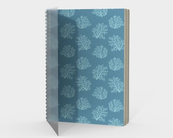 Sea Coral Fan Spiral Notebook in Blue with drawing paper or sketch paper blank, ruled, graph or bullet journal metal coil, gift for friend