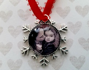 Christmas Photo Ornament - Snowflake Ornament- Personalized Photo Ornament