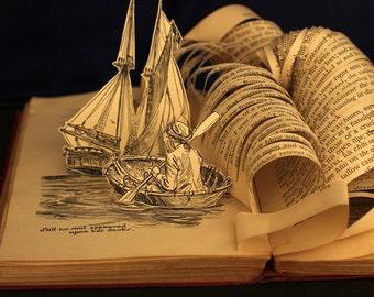 Tarjeta de cumpleaños de saludo de la isla del tesoro de una escultura de libro alterado