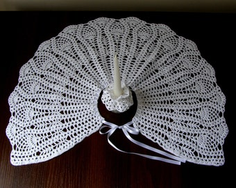 Baby christening, baptism set white hand crocheted cotton  cape and candle decoration