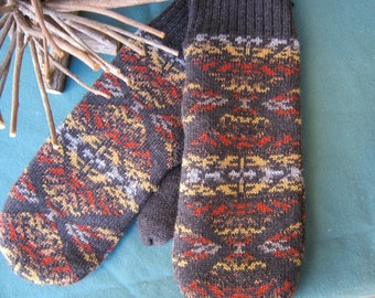 Pendelton Wool Mittens-  Thunder and Earthquake Pattern