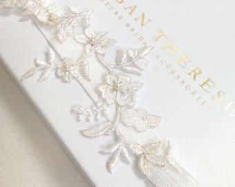 Ivory lace garter, lace garter, vintage garter, bridal garter set, wedding garter set, blue lace garter, blue garter