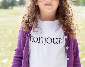 Bonjour Shirt in Black and White - Bonjour Paris Shirt - Baby Shirt - Baby Gift - Bonjour Bebe - French - Paris - Baby Shower Gift