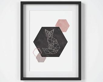 Blush Pink Wall Art, Instant Download, Fox Print, Geometric Fox Art, Wall Art Prints, Scandinavian Print, Blush Pink Art, Fox Wall Art Print