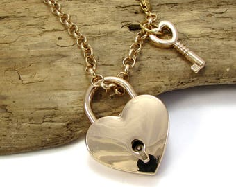 Padlock Necklace, 39x30mm Gold Heart Lock with 24x11.5mm Key and Working Lock, Heart Necklace, 5mm Rolo Chain, Item 1443n