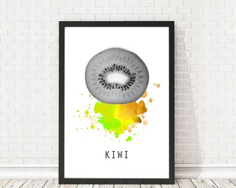 Kiwi poster, Kitchen print, Kiwi print, Kitchen decoration, Vegan, Minimal design, Home minimal art, PRINTABLE poster, Fresh fruit poster