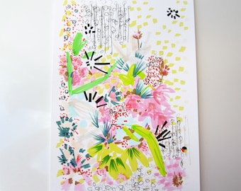 Floral Doodle 4 - Flower Illustration - Archival A4 Print from original illustration