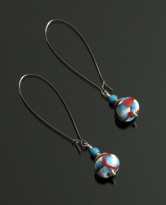 Red, White & Blue Silver Earrings, Long Drop Earrings, Colorful Dangle Earrings, Patriotic Jewelry, Unique Jewelry Gift for Her, Women