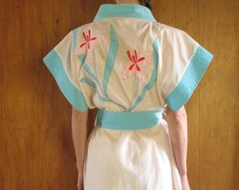 1970s FLORAL APPLIQUE robe