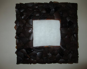 Vintage brown found old beer bottle sea glass mirror for beach house / familyroom / man cave       REDUCED PRICE