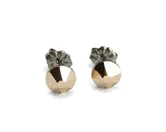 Titanium Stud Earrings Rose Gold Metallic Swarovski Crystal Post Earrings, No Nickel Titanium Posts Non Allergenic Earrings
