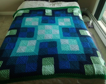 Crochet Blanket Pattern pdf: Granny Splash blanket - granny square, queen size, baby, child, adjustable sizing, intermediate crochet pattern