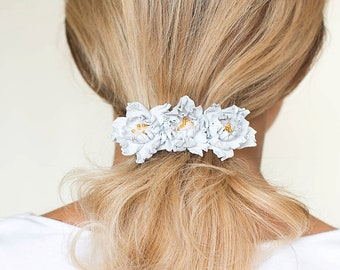 White Leather flowers barrette, flower barrette, white barrette, french barrette, wedding barrette, white hair clip, Hair Accessories, boho