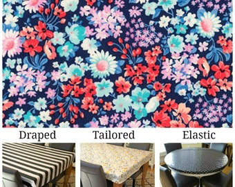 Laminated cotton aka oilcloth tablecloth custom size and fit choose elastic, tailored or draped Robert Kaufman Garden