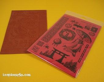 Japanese Elements / Invoke Arts Collage Rubber Stamps / Unmounted Stamp Set