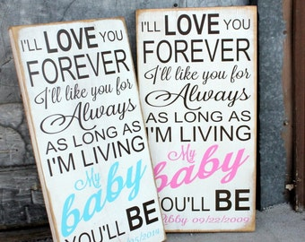 Personalized I'll Love You Forever Baby Name and Birth-date Sign...Subway Art Style