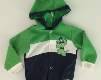Vintage 70er Jahre Scotty Hund grün Sweatshirt mit Kapuze 12-18 Monate