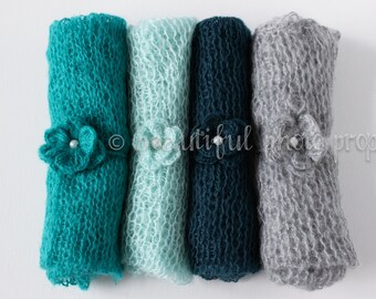 SET Teal Aqua Gray Tones Mohair Knit Baby Wrap and Headband CHOOSE COLORS