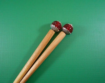The Ripest Raspberries -textured red acrylic and silver beaded hairsticks